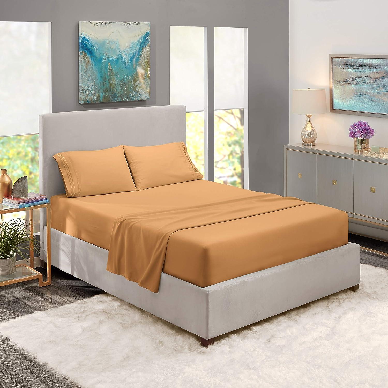 Queen Sheets - Bed Sheets Queen Size – Deep Pocket Hotel Sheets – Cool Sheets - Luxury 1800 Sheets Hotel Bedding Microfiber Sheets - Soft Sheets – Queen - Mocha Light Brown