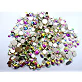 450 pcs 2mm - 6mm Resin Crystal AB round Nail Art Mixed Flatbacks Rhinestones Gems Mix SIZE ~ M1 - 30 [By Zealer]