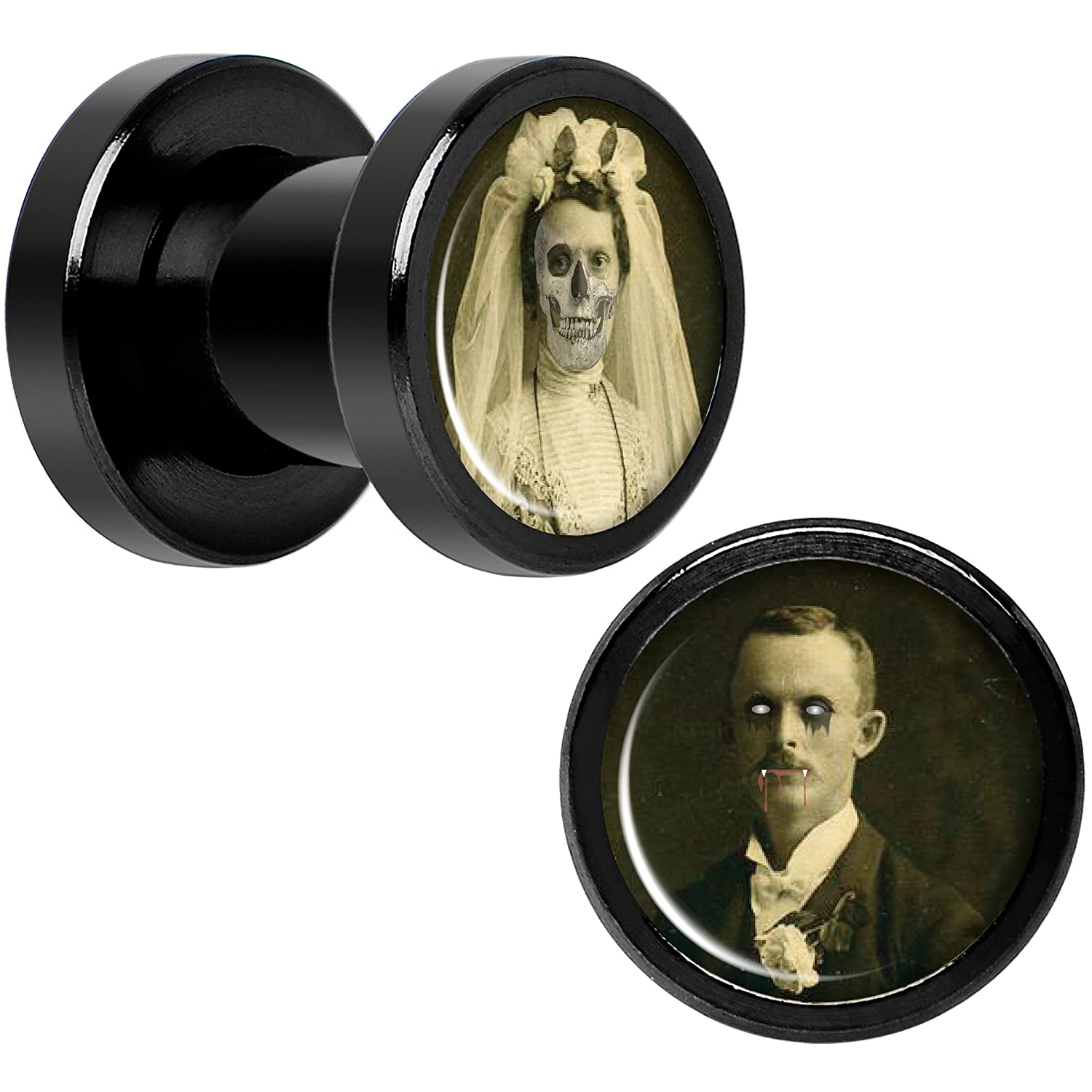 Body Candy Black Anodized Titanium Steel Undead Bride and Groom Halloween Plug Set of 2 5mm to 20mm CUPS-BK-844-8