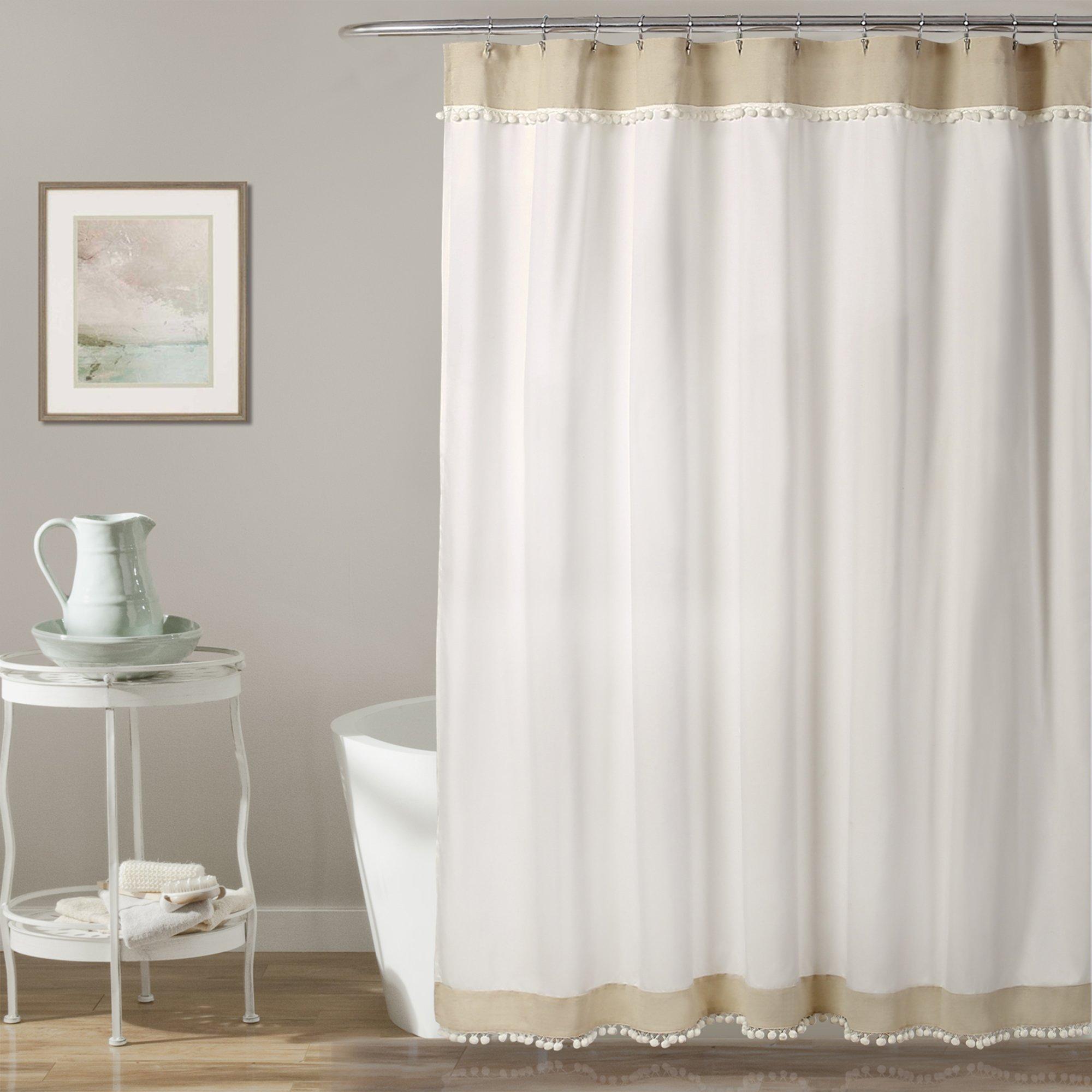 Lush Decor Décor Adelyn Pom Shower Curtain, 72'' x 72'', Neutral