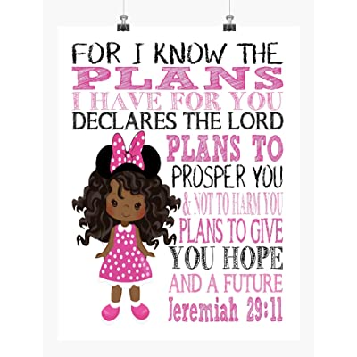 African American Minnie Mouse Girl Inspirational Nursery Decor Wall Art Print - For I Know The Plans I Have For You - Jeremiah 29:11: Handmade