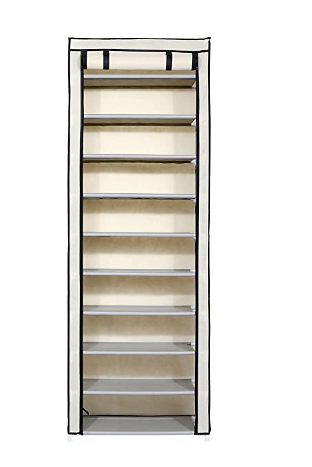 Homebi 10 Tier Shoe Rack 30 Pairs Shoe Tower Closet Shoes Storage Cabinet  Portable Boot