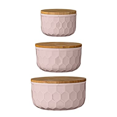 Bloomingville A21700004 Set of 3 Round Pink Stoneware Bowls with Bamboo Lids