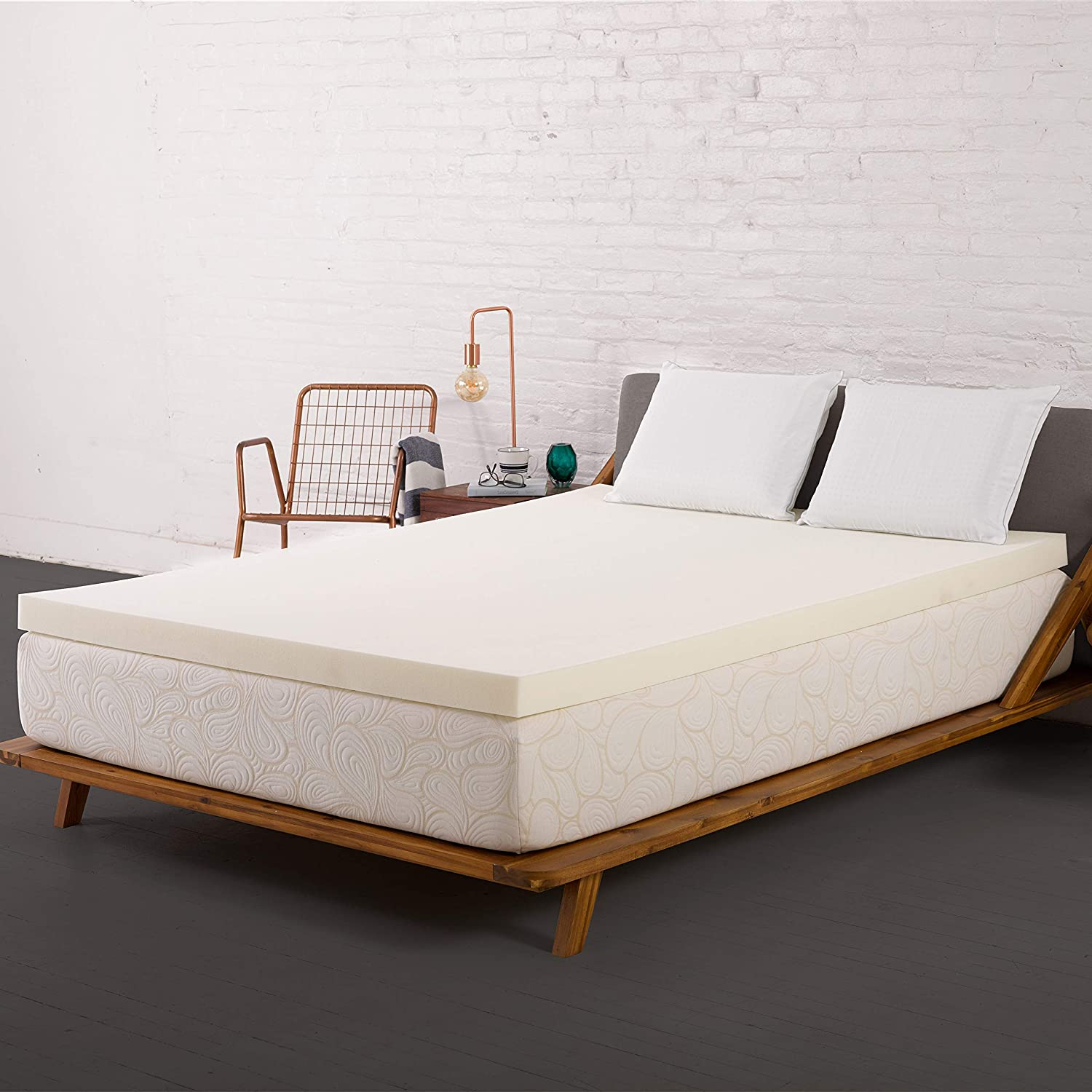 SleepJoy 2-inch ViscO2 Memory Foam Mattress Topper with Breathable Design, Made in The USA Queen Size