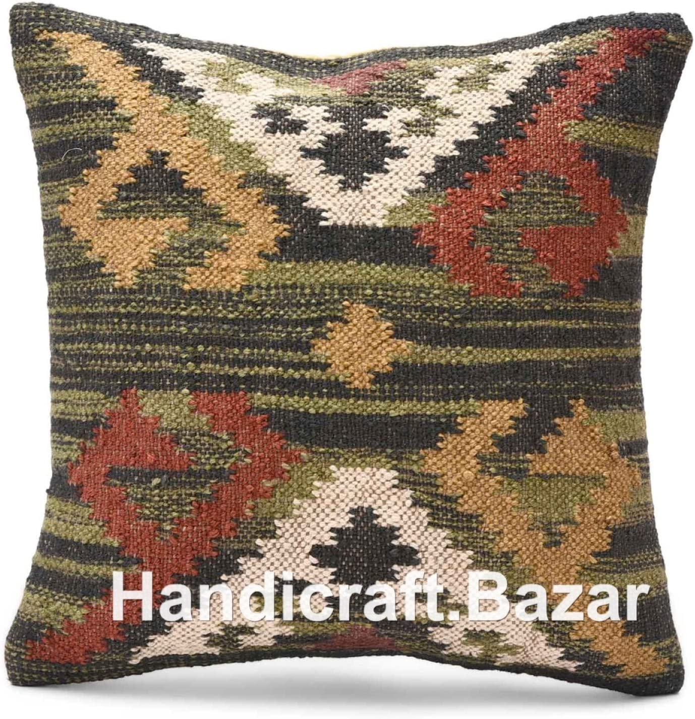 Handicraft Bazarr Moroccan Pillow Case Maternity Body Pillow Cover Handmade Wool Jute Floor Throw Kilim Cushion Cover Turkish Home Decor Pillow Cases, Living Room Ethnic Cushion Cover