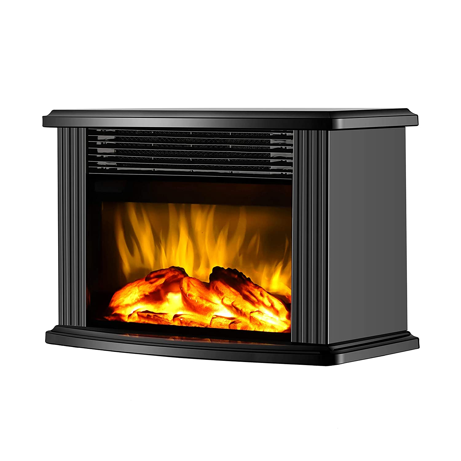 DONYER POWER 14-inch Mini Electric Fireplace Tabletop Portable Heater, 1500W, Black Metal Frame,Room Heater,Space Heater,Gift