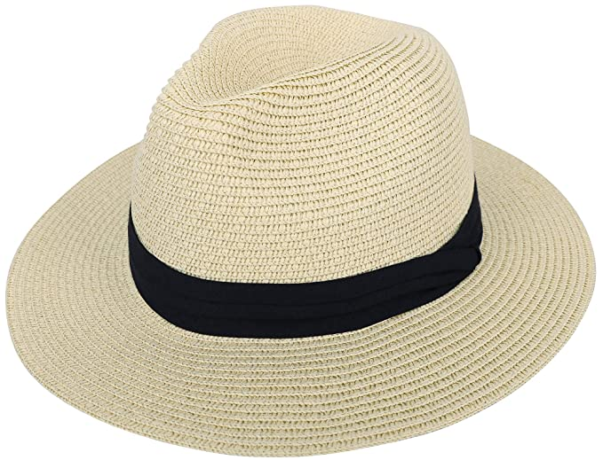 0e1904a3ae3b0 Panama Hat Men   Women s Wide Brim Foldable Straw Fedora Beach Sun Roll up  Hat