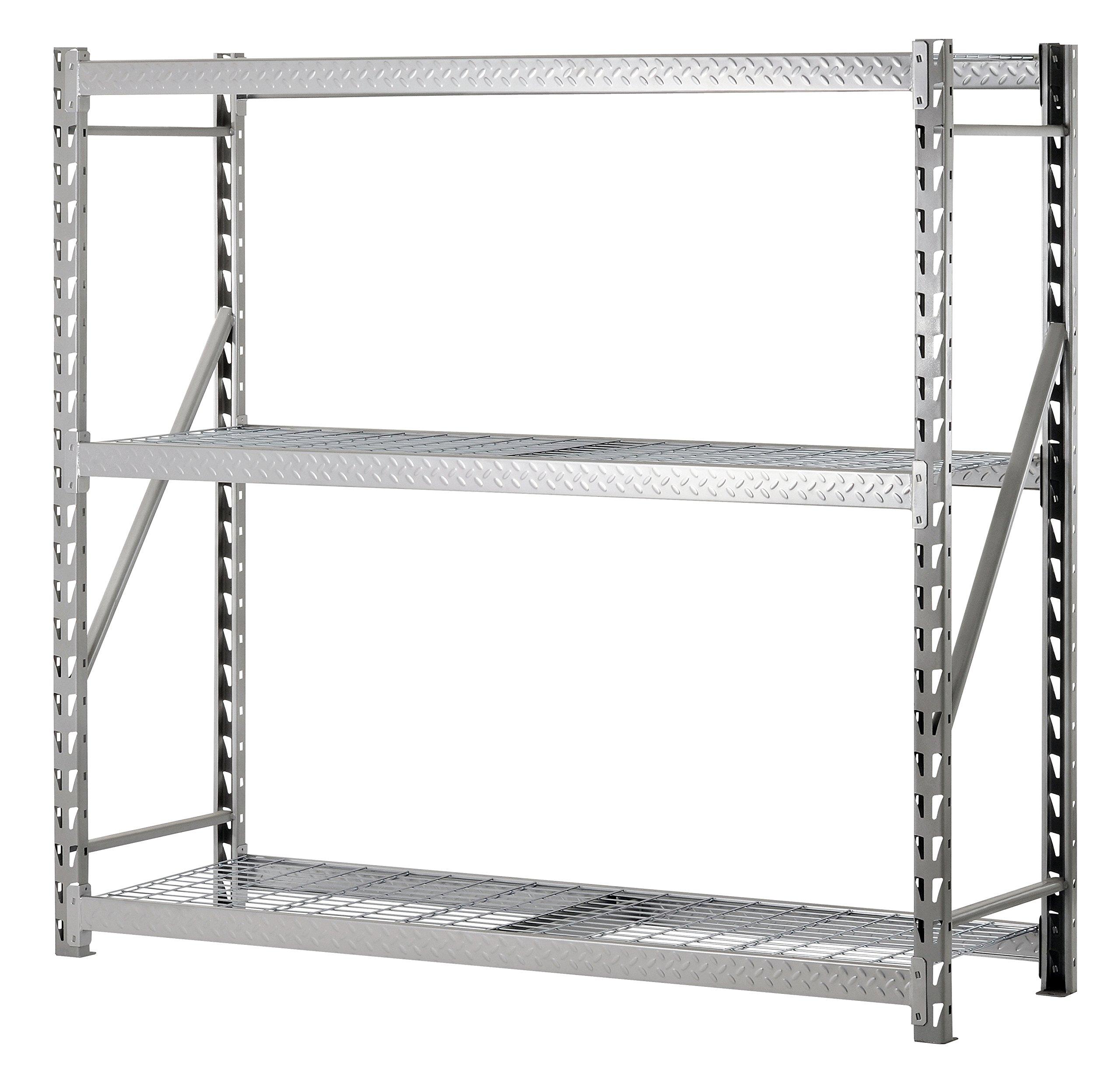 Muscle Rack TP722472W3 3-Shelf Steel Treadplate Welded Rack, Length: 24'', Height: 72'', Width: 77'', Silver by Muscle Rack