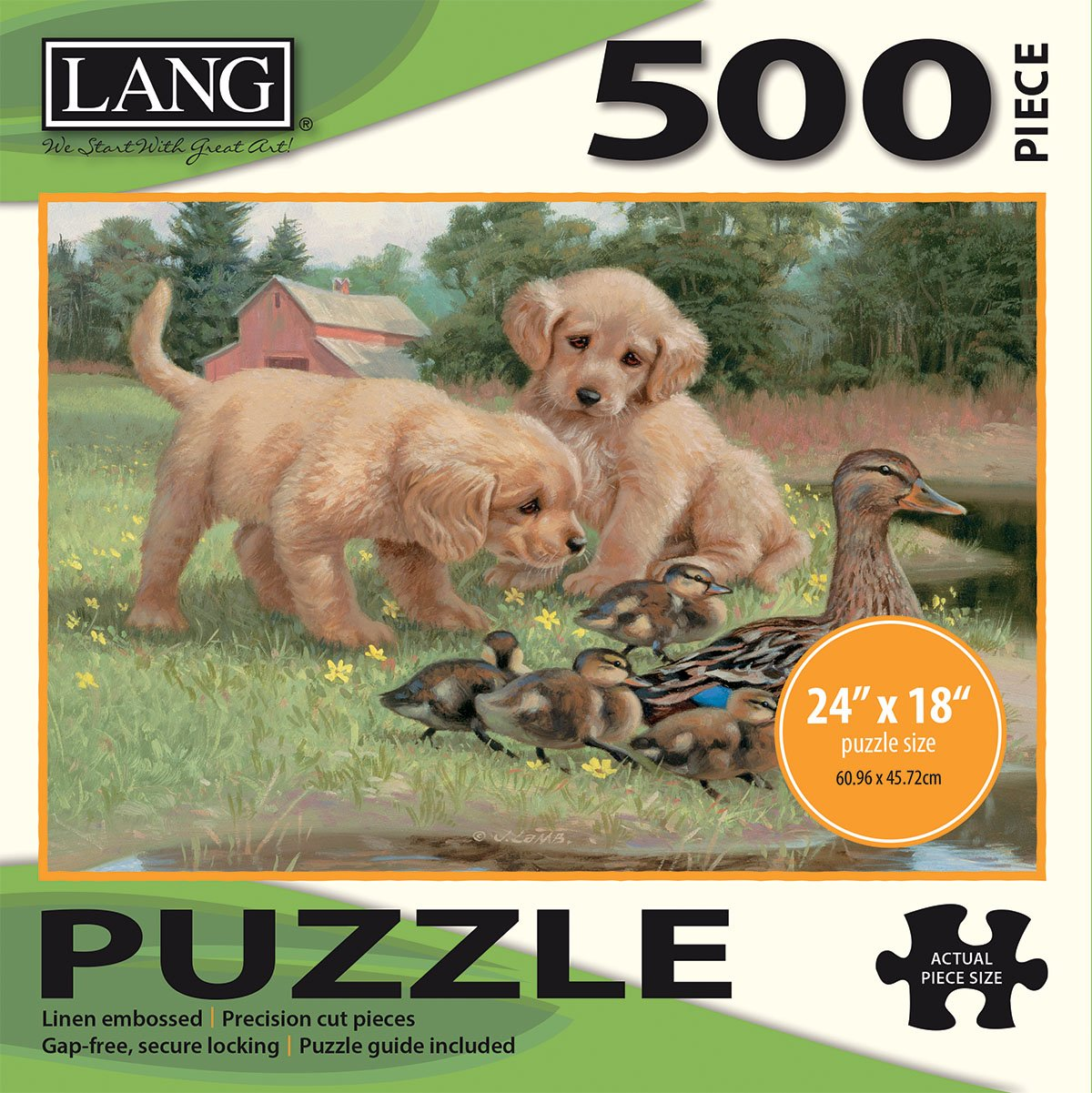 """500 Piece Puzzle -Follow the Leader Artwork by Jim Lamb 24/"""" x 18/"""" Completed The Lang Companies 5039111 Linen Finish LANG"""