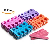 Pack of 36 Pairs – Soft Two Tone Foam Toe Separators, Toe Spacers, Great Toe Cushions for Nail Polish, Pedicure, Manicure, and Other Uses, Includes 8 Pink Mini Nail Buffering Files
