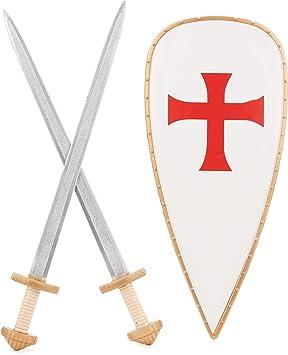 Generique - Kit Escudo 2 Espadas Caballero Cruzado niño: Amazon.es: Juguetes y juegos