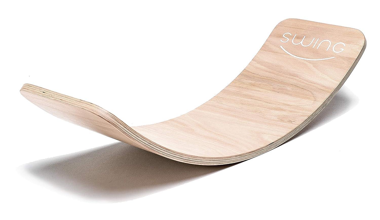 Puppenvilla Swing Balance Board aus Holz Transparent Lackiert, Yoga Kinder Wippe Therapie Kreisel Wackel Brett Stabilitätstrainer Gleichgewichtsboard propriozeptives Training Physiotherapie Gymnastik