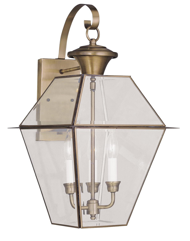 Livex Lighting 2381-01 Westover 3-Light Outdoor Wall Lantern, Antique Brass