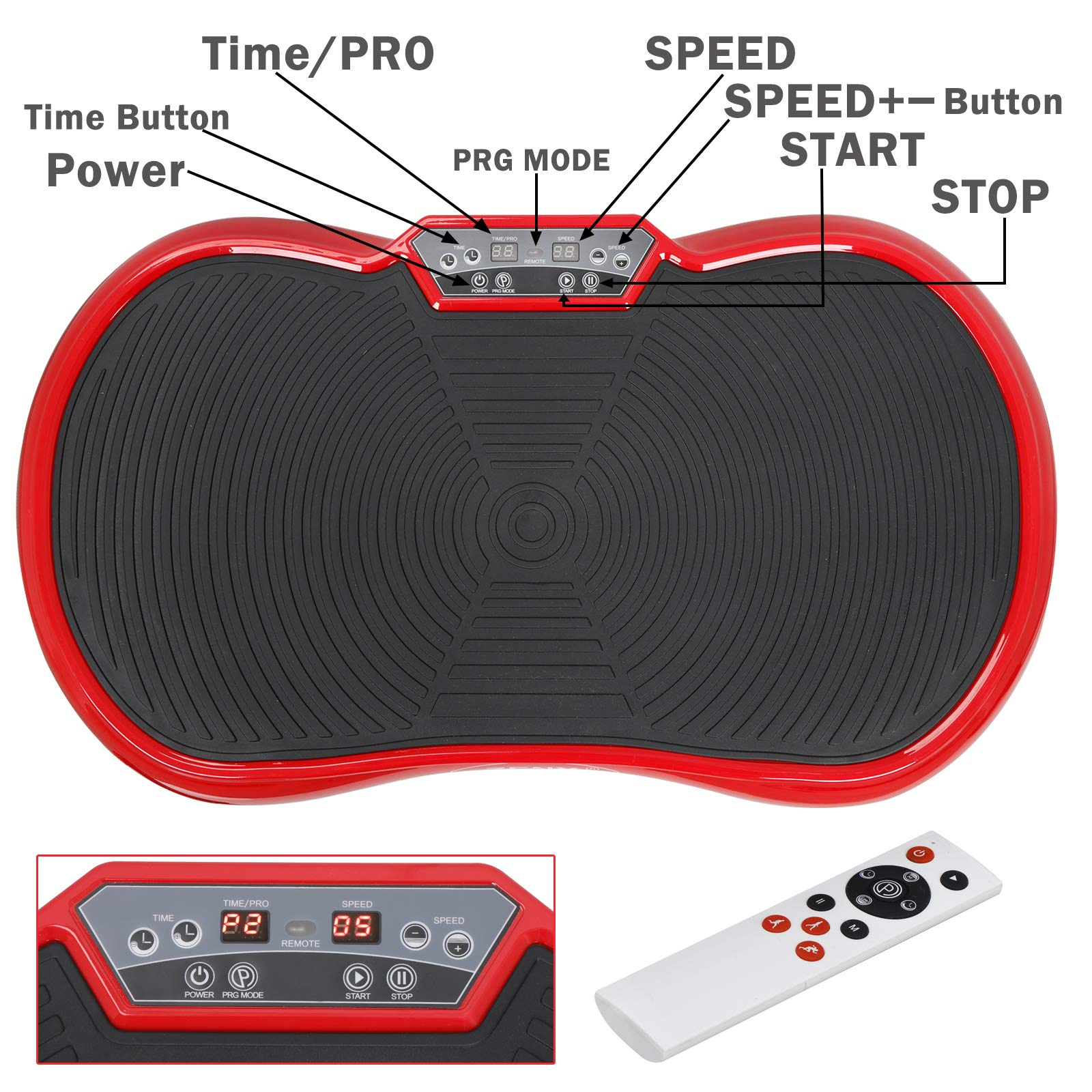 SUPER DEAL Crazy Work Out Fit Full Body Vibration Platform Massage Machine Fitness W/Bluetooth Red by SUPER DEAL (Image #3)