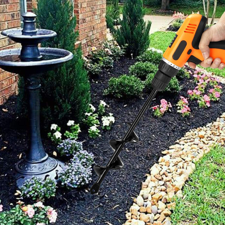 EEEKit Auger Drill Bit 3.5x10 in//9 x25 cm Garden Plant Flower Bulb Auger Rapid Planter Bulb /& Bedding Plant Auger for 3//8 Hex Drive Drill Earth Auger Drill Fence Post Umbrella Hole Digger
