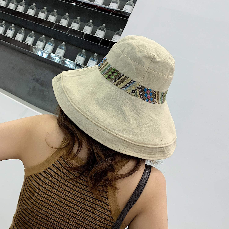 Cappello da Sole da Donna Pieghevole Cappelli Tesa Larga Cappellini Protezione UV Traspirante Cappello di Protezione Solare per Giardinaggio Viaggi Escursionismo Pesca 56-58CM Rosa