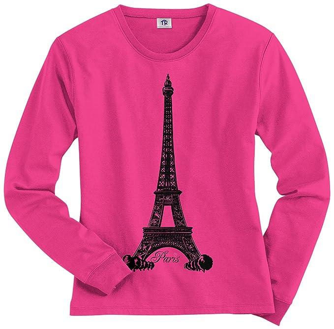 1cd108786b Threadrock Women s Eiffel Tower Paris France Long Sleeve T-Shirt S Hot Pink