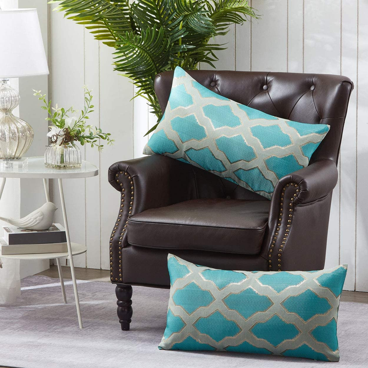Home Soft Things Jacquard Lumber Pillow Shell 2 Piece Set, 14 x 26 , Safi, Deep Teal