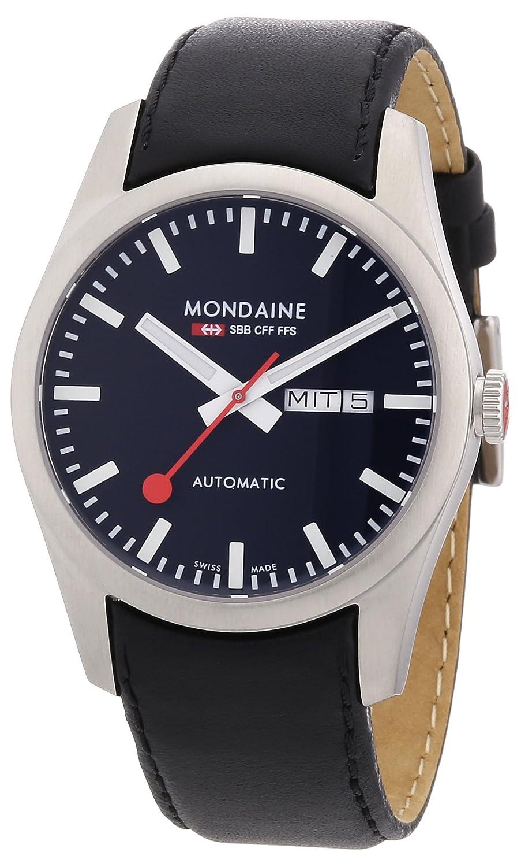 Mondaineメンズa132.30345.14sbbレトロDay / Date自動ブラックレザーストラップとダイヤル腕時計 B003LRD3MQ