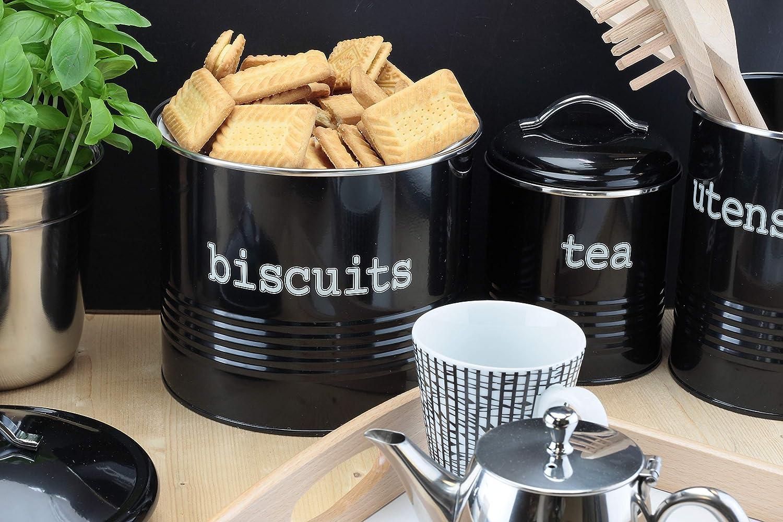 Tarro de almacenamiento para t/é caf/é az/úcar galletas//galletas o pan esmaltado negro