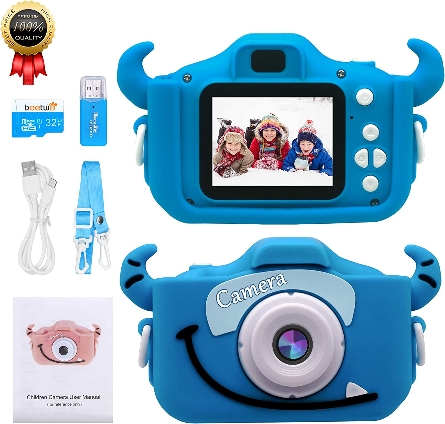 JAMSWALL Kids Camera,Digital Camera 2.0 inch for Children with 12MP HD 1080P Video Recorder /& 32GB SD Card Mini Dual camera SLR Supports Small Games USB Transfers Boys Girls Creative gifts