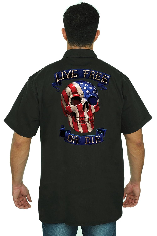 SHORE TRENDZ Mens Mechanic Work Shirt USA Flag Skull Live Free or Die