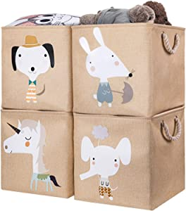 AXHOP Storage Cubes Storage Bins[4-Pack] 13 ×13 Foldable Storage Baskets Boxes for Shelf, Clothes, Toys, Books, Kids, Nursery, Office(Beige Unicorn)