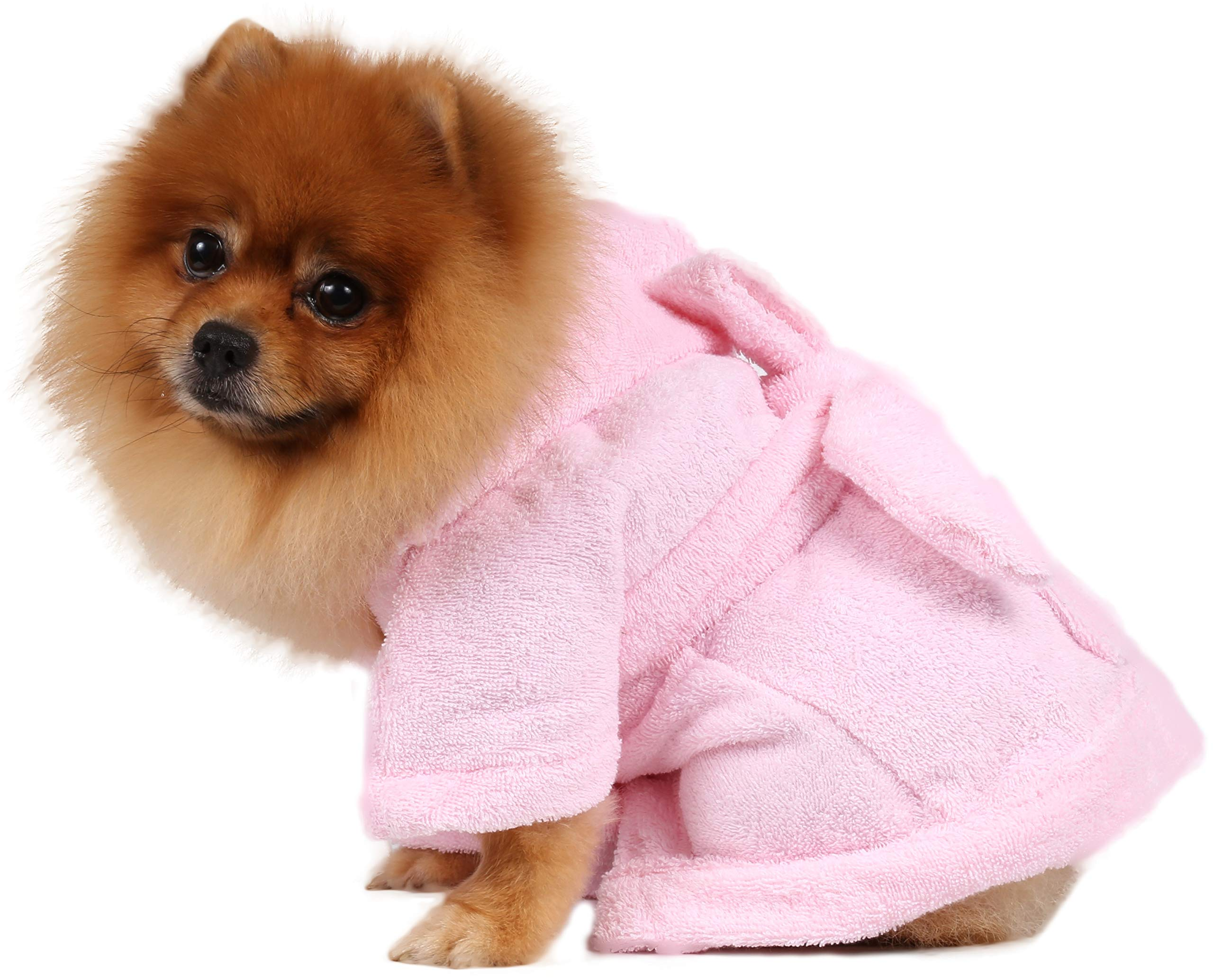 DoggyDolly Authentic Bathrobe, XX-Small, Pink