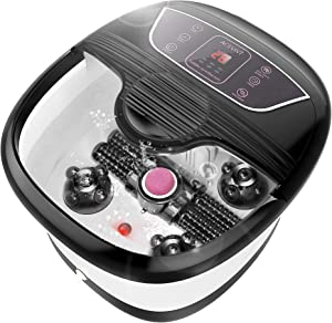 ACEVIVI Foot Bath with Heat and Massage and Bubbles, Foot Spa Massager w/Motorized Shiatsu Massage Ball and Maize Roller, Foot Stone, Digital Adjustable Temperature Control, Red Light, Multi-Modes