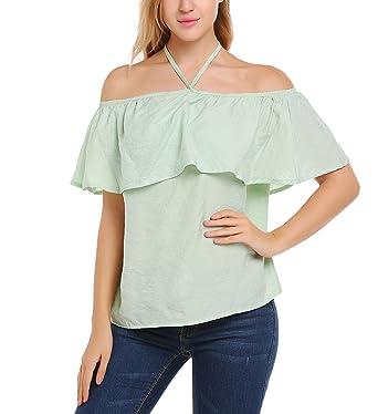 Finejo Damen Schulterfrei Neckholder T-Shirt Sommer Kurzarm Shirts Bluse  Hemd Oberteil Tunika Strand Party 0e91bbe5ee