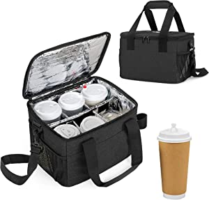 Trunab Reusable 6 Cups Drink Carrier for Delivery Insulated Drink Caddy with Handle and Shoulder Strap, Adjustable Dividers, Beverages Carrier Tote Bag, for Daily Life Takeout, Outdoors, Travel, Black