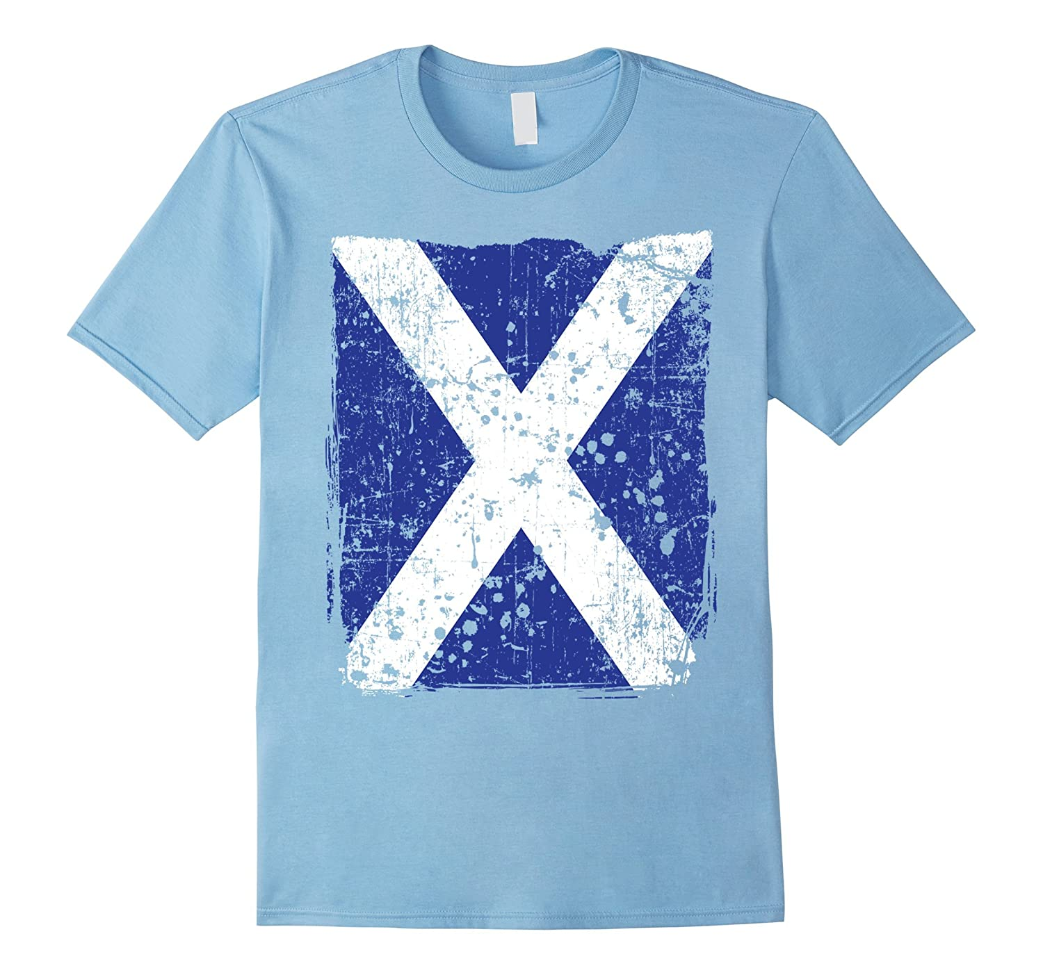 Faded scottish flag distressed flag of scotland t shirt for Faded color t shirts