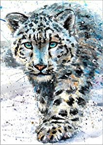 "7Dots Art. Wild Animals. Watercolor Art Print, Poster 8""x12"" (A4) on Fine Art Thick Watercolor Paper for Living Room, Bedroom, Bathroom, Kid's Room. Wall Art Decor with Animals. (Snow Leopard)"