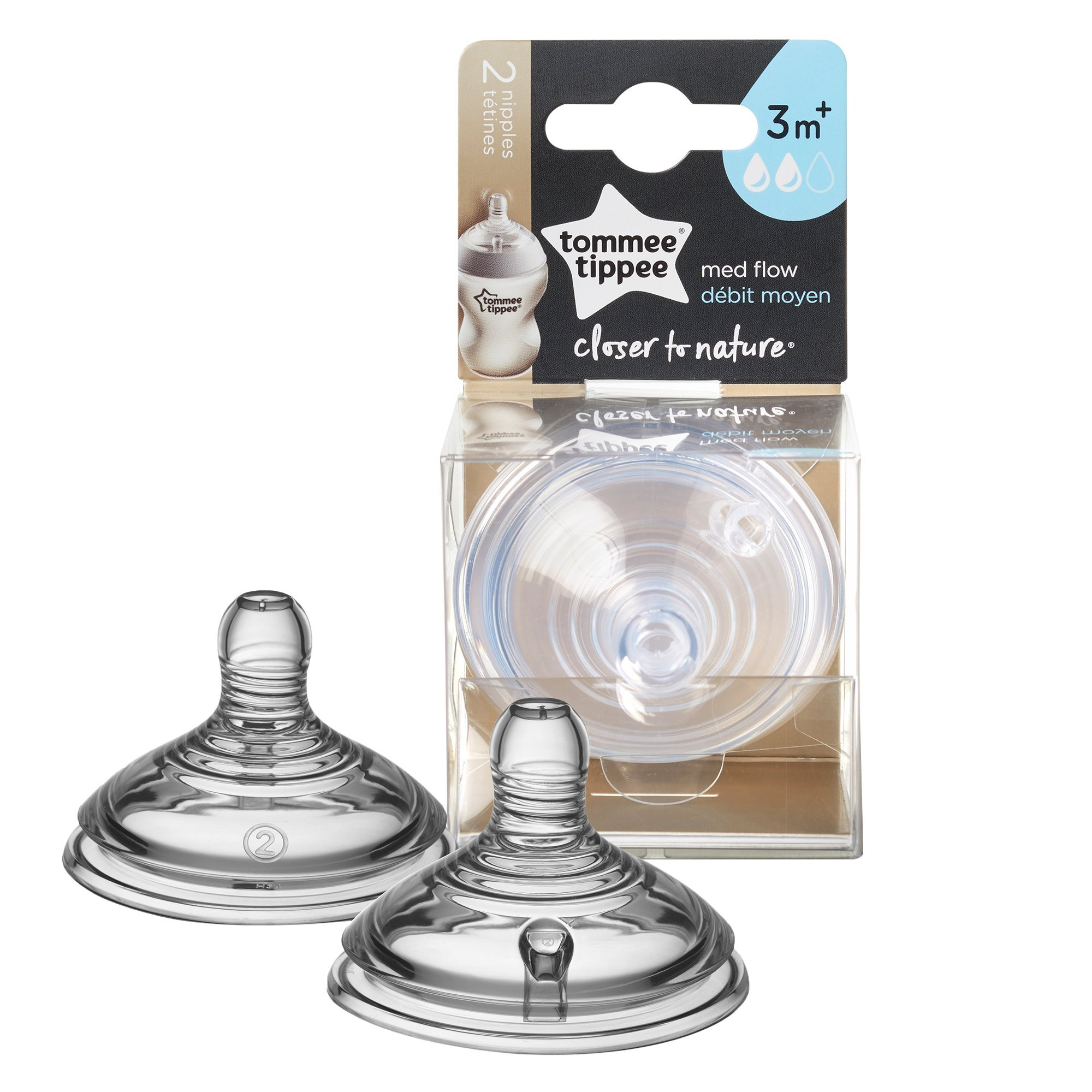 Tommee Tippee Closer to Nature Medium Flow Baby Bottle Feeding Nipples, 0+ months – 2 count