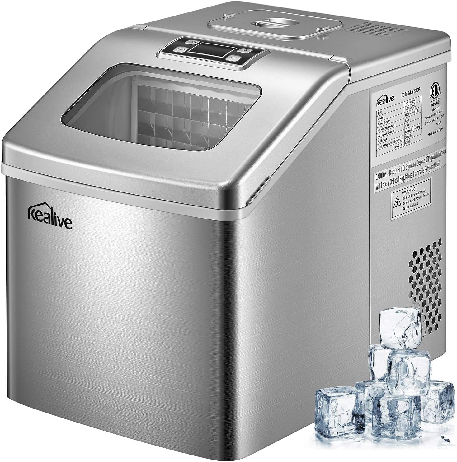 Ice Maker Machine 48 lbs ice in 24 hours Portable Ice Maker for Countertop Clear Square Ice Cubes Ready in 15 minutes with 2.4 lbs Storage and Scoop Stainless Steel by Kealive