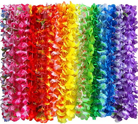 Collar Hawaiano Tropical Con 36 Flores De Seda Para Fiestas Temáticas Hawaianas Luau Bodas Fiestas De Cumpleaños Fiestas En La Playa 36 Unidades Toys Games
