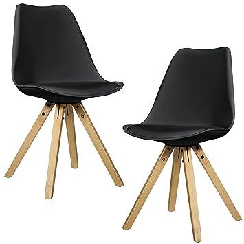 [en.casa]®] 2X sillas de Comedor Negras tapizadas - sillas de Cocina de Cuero sintético