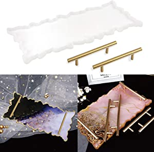 Resin Tray Molds Agate Platter Silicone Molds Epoxy Resin Casting Molds with Gold Handles for Resin Agate Tray Serving Board Crafts DIY Home Decor