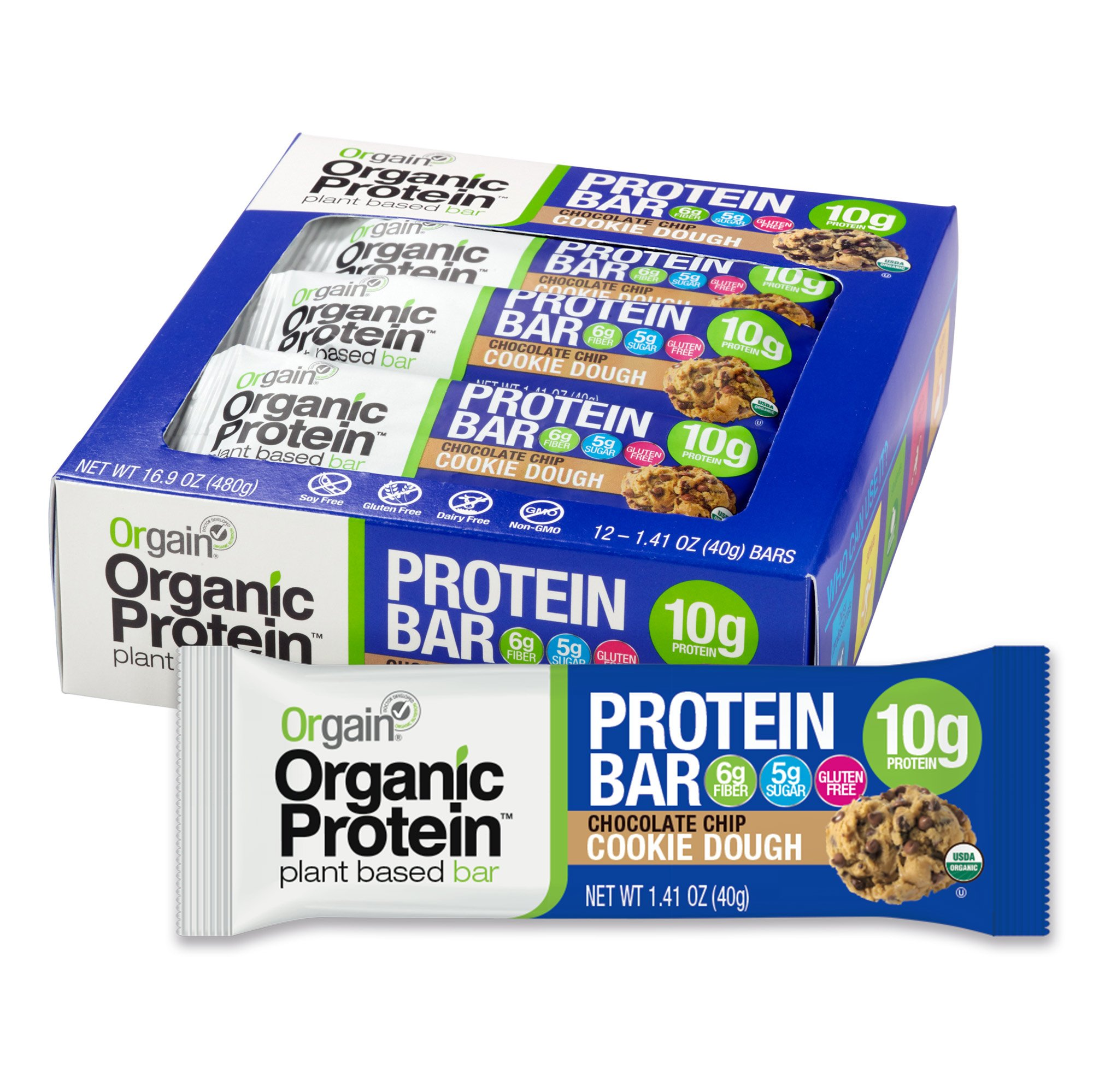 Orgain Organic Protein Bar, Chocolate Chip Cookie Dough, Gluten Free, Non-GMO, USDA Organic, 1.41 Ounce, 12 Count