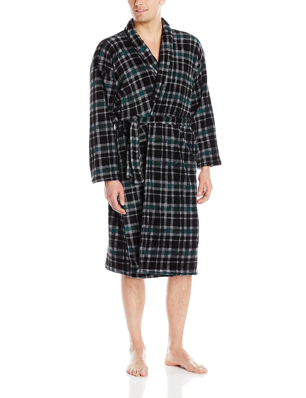 Essentials by Seven Apparel Mens Plaid Plush Bathrobe Black//Blue One Size Essentials Men/'s Sleepwear AMZ-2814