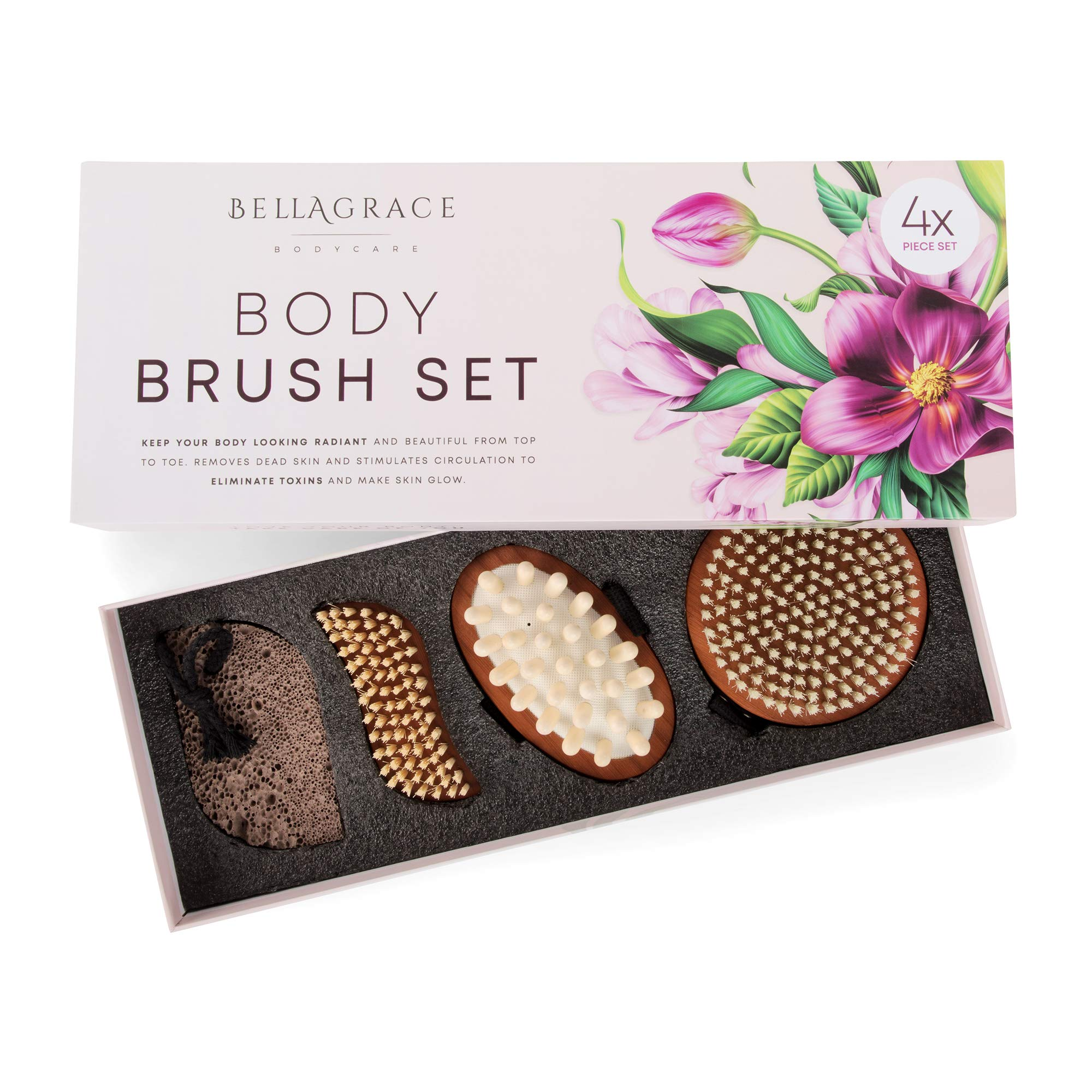 Dry Brush Body Brushes, Set of 4, Non-Toxic - Bamboo Beauty Pack for Dry Skin, Cellulite - Brushing Exfoliation Kit - Cleansing, Massaging, Manicure Sets for Arms, Legs, Hands, Feet, Nails