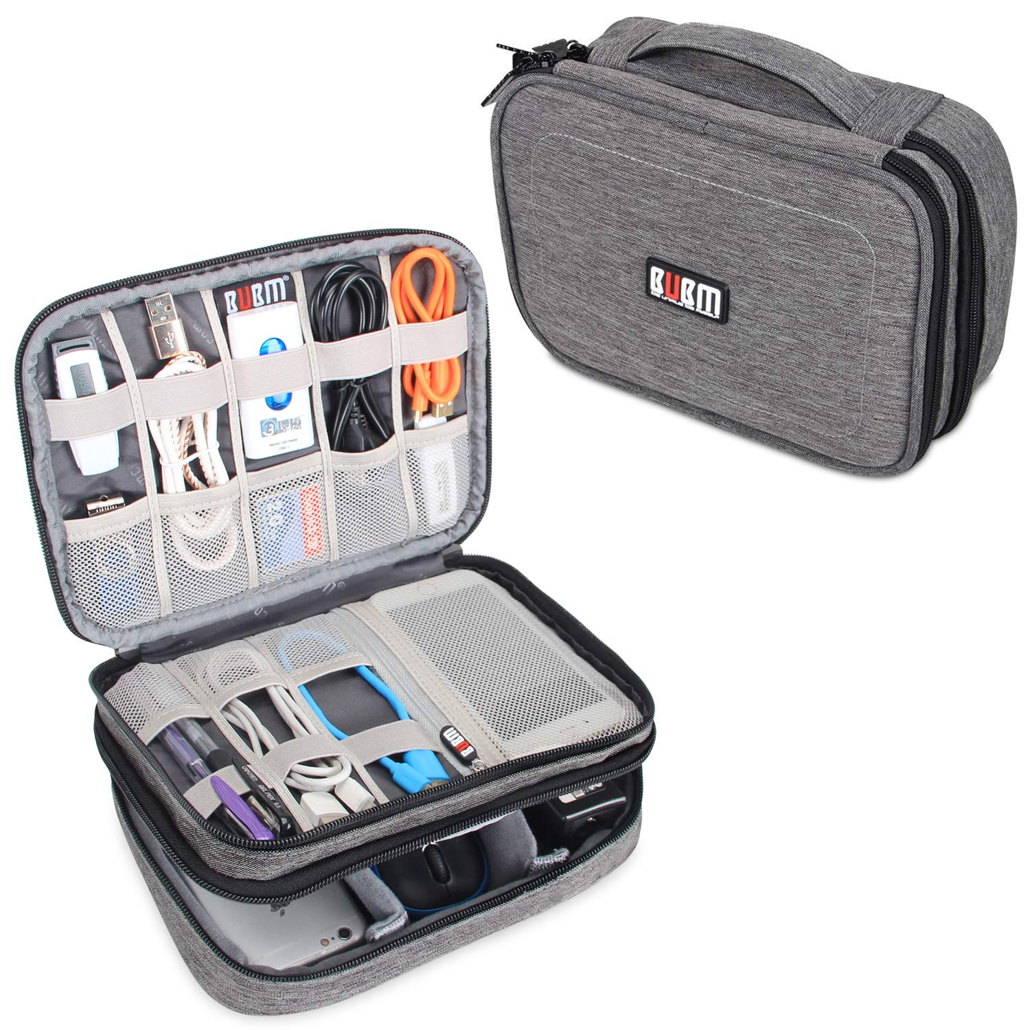 d67d3e02192c BUBM Travel Cable Bag, Ultra-compact Electronics Gadget Organiser Case for  Data Cables, Chargers, Plugs, Memory Cards, CF Cards and More-a Sleeve ...