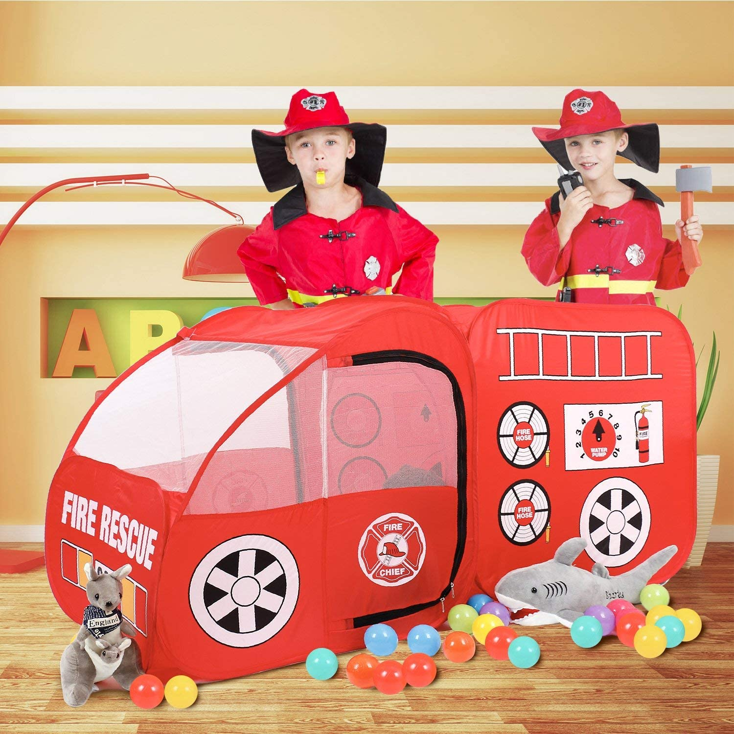 Airfun Fire Truck Kids Play Tent, Kids Room Decor Playhouse Indoor Outdoor Pop Up Play Tent Pretend Vehicle for Boys Girls