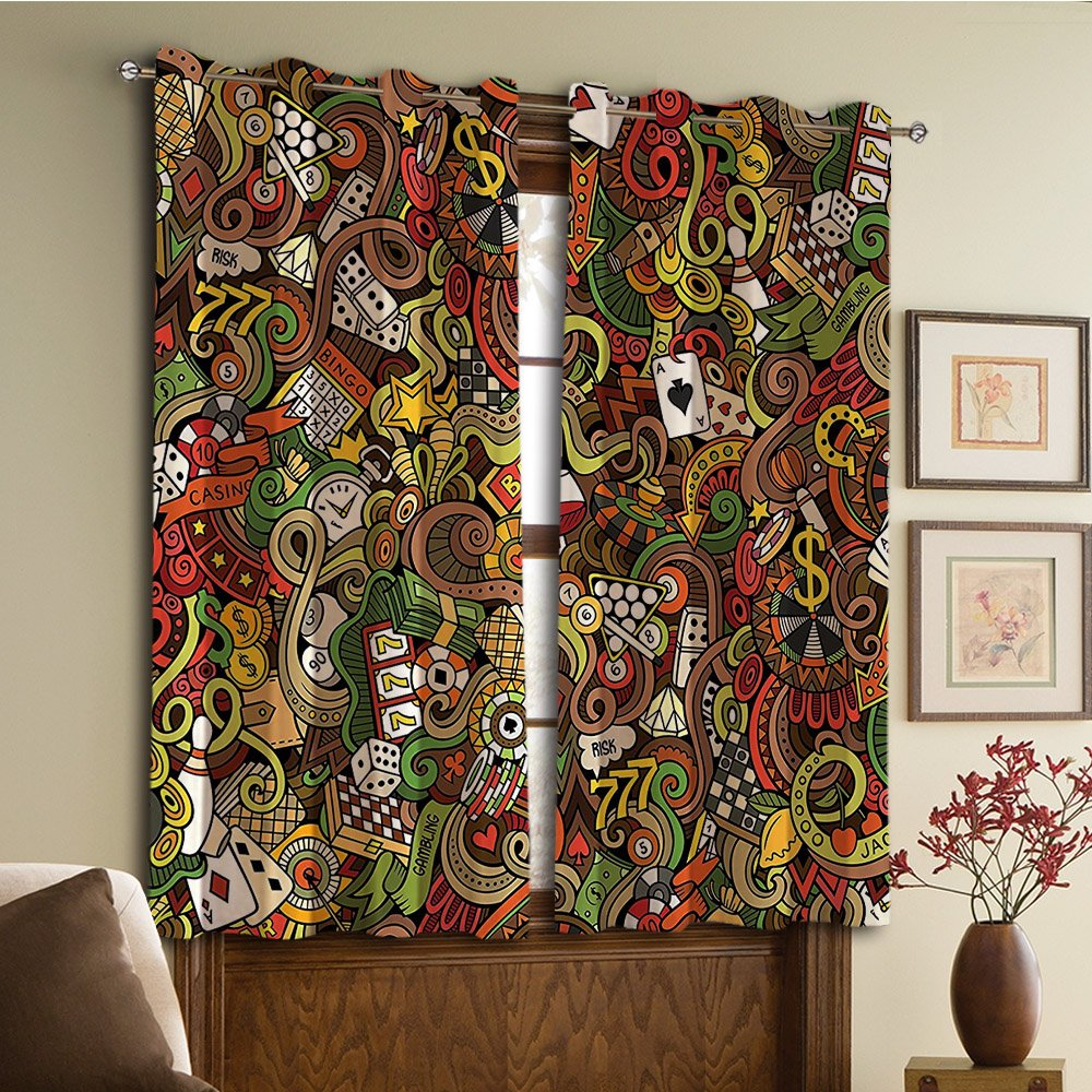 Custom design curtains/Vintage Lace Window Curtain/Grommet Top Blackout Curtains/Thermal Insulated Curtain For Bedroom And Kitchen-Set of 2 Panels(no Decorations Doodles Style Art Bingo Excitement)