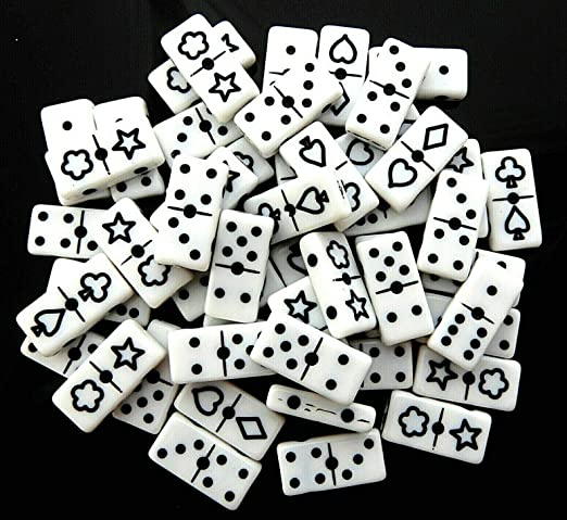 50pcs domino black and white beads acrylic rectangle 20mm x 10mm