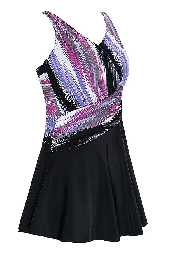 Saejous Women's Retro Plus Size Color Block Modest One Piece Skirt Swimdress Swimwear