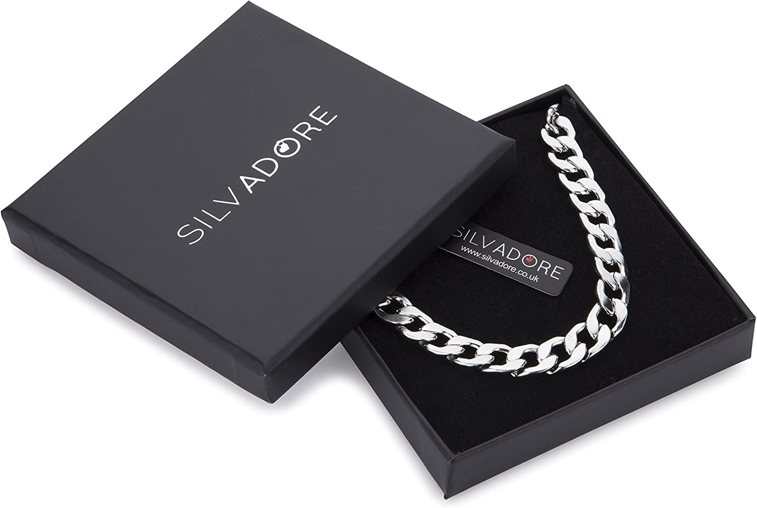 Neck Link Chains for Men Man Women Boys Kids 18 20 22 24-8mm Bracelet 7.5 8 8.5 9 Silvadore 9mm CURB Mens Necklace Silver Chain Cuban Stainless Steel Jewellery