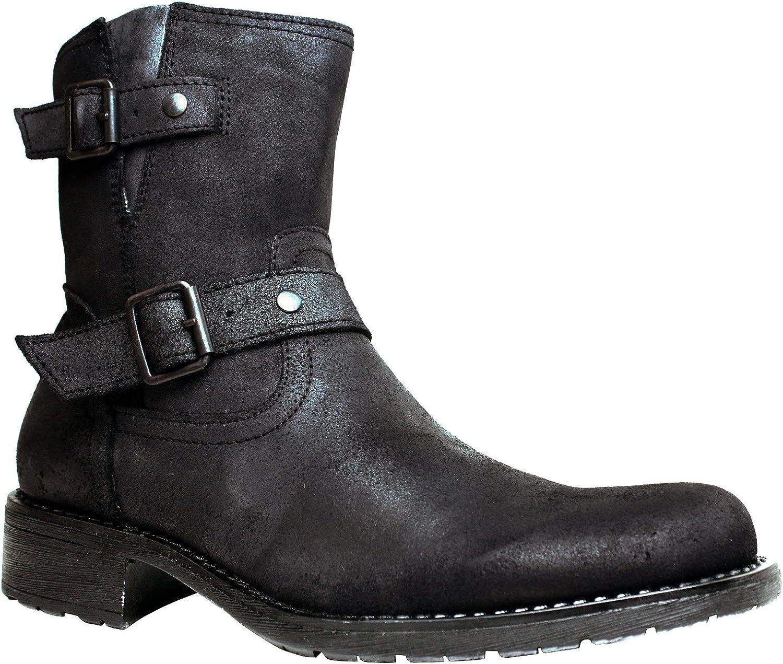 Amazon Com Marco Ferretti Nero Men S Leather Biker Boots 7 5 Black Motorcycle Combat