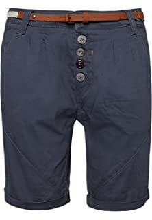 b63c90584342f8 Sublevel Damen Chino-Shorts mit Flecht-Gürtel I Leichte Bermuda I Kurze  Hose in