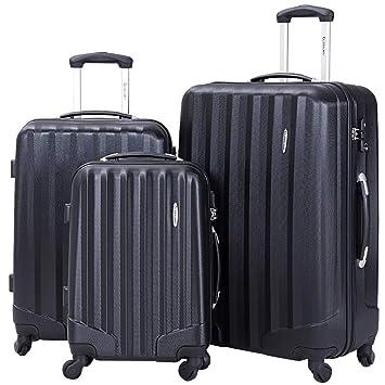 0676a9b43 Amazon.com | Goplus 3 Pcs Luggage Set ABS Hardshell Travel Bag Trolley  Suitcase w/TSA Lock (Black) | Luggage Sets